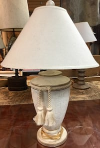 """17"""" White Ceramic Table Lamp with Tassels Palos Hills, 60465"""
