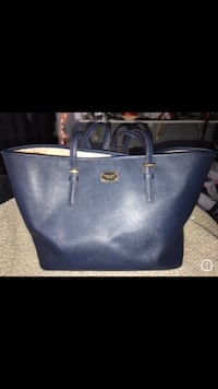 Women's blue leather tote bag Woodbridge, 22193