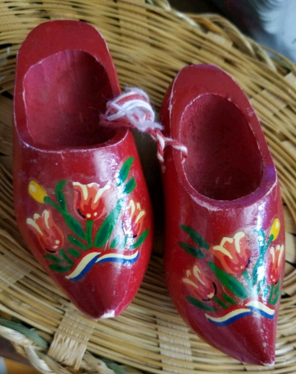 Red Wooden Shoes Marked Amsterdam