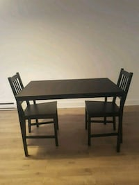 rectangular black wooden table with four chairs dining set Laval, H7S