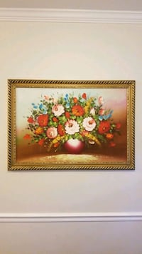 Large original oil painting, Floral decor, framed Marietta, 30066