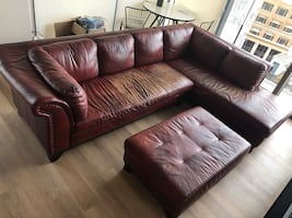 Dark red leather couch