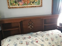 Brown wooden headboard with shelving Des Moines, 50316