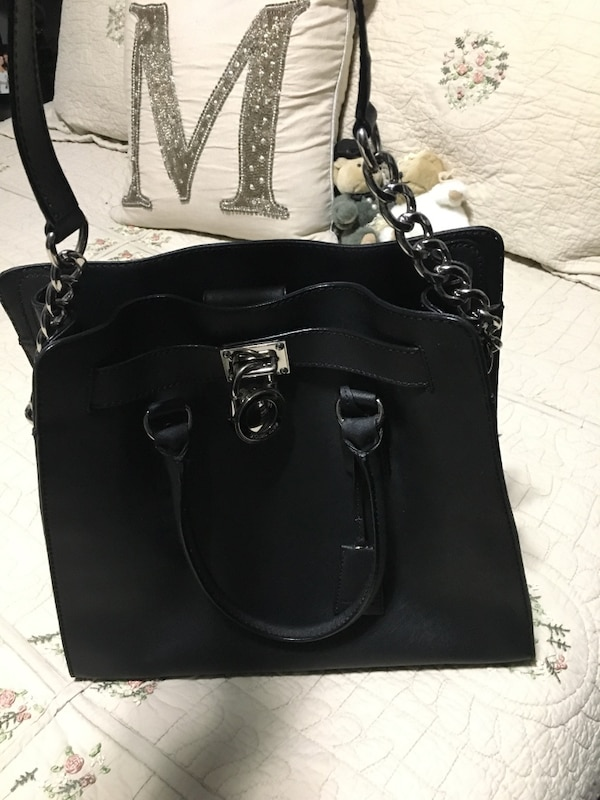Michael kors Black large leather Hamilton tote