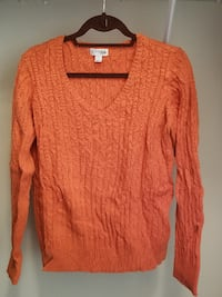 women's orange v-neck sweater Fairfax