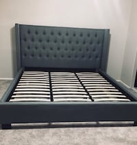 Brand new grey or beige button tufted bed frame