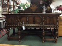 """Solid Oak Jacobean Style Buffet with Linenfold Carving 74""""w x 22""""D x 38""""H Heath, 43056"""