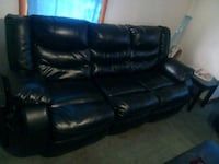 Black leather couch the end chairs recline