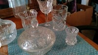 clear cut glass pitcher and drinking glasses