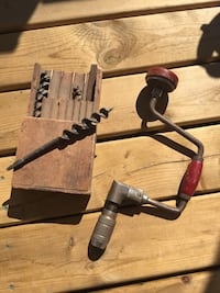 Vintage hand crank drill. Includes hand crafted drill bit holder and several drill bits. Vintage tools for sale. Perfect addition for any collector Calgary, T3G 1Z9