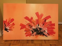 red and yellow petaled flower painting