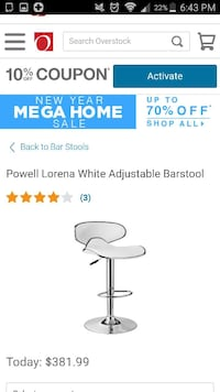 white powell lorena adjustable barstool Hanover, 21076