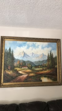 brown wooden framed painting of house near body of water Los Angeles, 91343