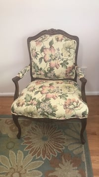 brown wooden frame white floral padded armchair Vienna, 22180