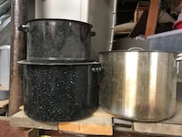 two black and one stainless steel stock pots Essex, 21221