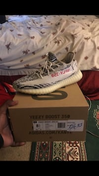 pair of Zebra Adidas Yeezy Boost 350 V2 with box Washington, 20011
