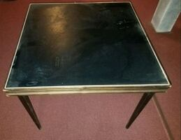 Vintage Wood And Leather Card Table With Folding L