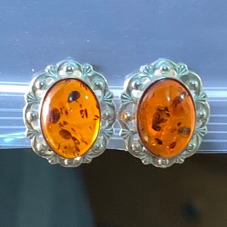 Antique Sterling Silver Baltic Amber Earrings 9092e52d-14bb-4e1c-8808-e0335ddbff5a
