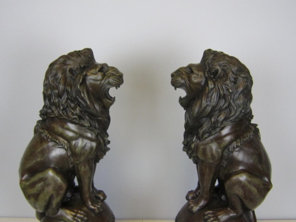 Lion Jungle King Bronze Statue on Marble Base Sculpture (25X8 Inches) eed17dcd-d158-40be-a6fe-087226dd29ed