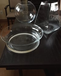 round and square clear glass bowl and vase