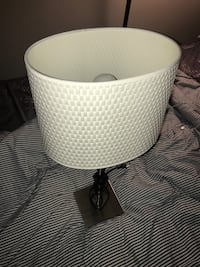 White shade, Grey Metal pipe + base Lamp