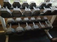assorted-color fixed weight dumbbell lot 38 km