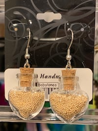 Local handmade new with tag bottle earrings handcrafted art craft.  Lutherville Timonium, 21093