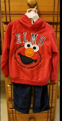red and navy blue Elmo hoodie and fleece pant Murphy, 75094