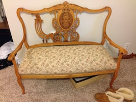 Antique bench with matching chair