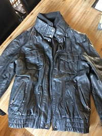 black leather zip-up jacket Laval, H7R 4V2