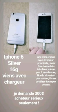 silver iPhone 6 with text overlay Terrebonne, J6V 1T7