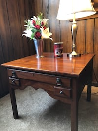 Brown Wooden Table with drawer FREDERICK