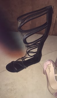pair of black leather open-toe ankle strap heels North Las Vegas, 89031