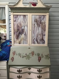 Antique Handpainted Desk with Hutch and Drawers