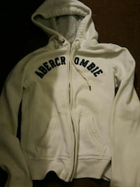 white and blue Abercrombie zip-up hoodie