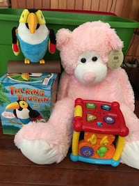 Talking Toucan and pink teddy bear