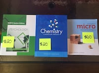 Microeconomics 6th edition, psychology 2nd edition, and chemistry molecular approach macewan edition