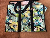 Black, white, and green floral tote bag