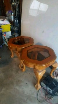 brown wooden framed glass top side table Los Angeles, 90063