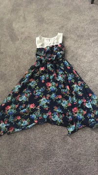 Black, pink, and blue floral sleeveless dress 3814 km