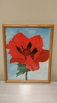FLORAL WALL ART - RED POPPY (Original Watercolor) Arlington, 22204
