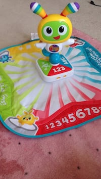 baby's white and blue activity gym