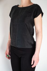 Vintage black 100% silk blouse by Royal Silk Toronto