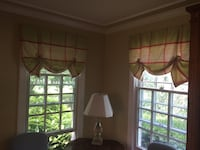 6 green, white and Nantucket red silk valances  Annapolis, 21409