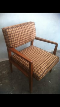 Mid century mahogany chair upholstered in wool hounds tooth Miami Beach, 33139