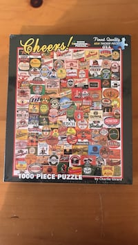 """New White Mountain 1,000 pc Puzzle """"Cheers"""" Beer Labels Brick, 08724"""