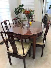 Chinese Rosewood dining table with chairs set with Custom glass tabletop. Fairfield, 94534