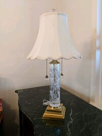 Crystal Glass Table Lamp and Soft Cream Shade Middle River