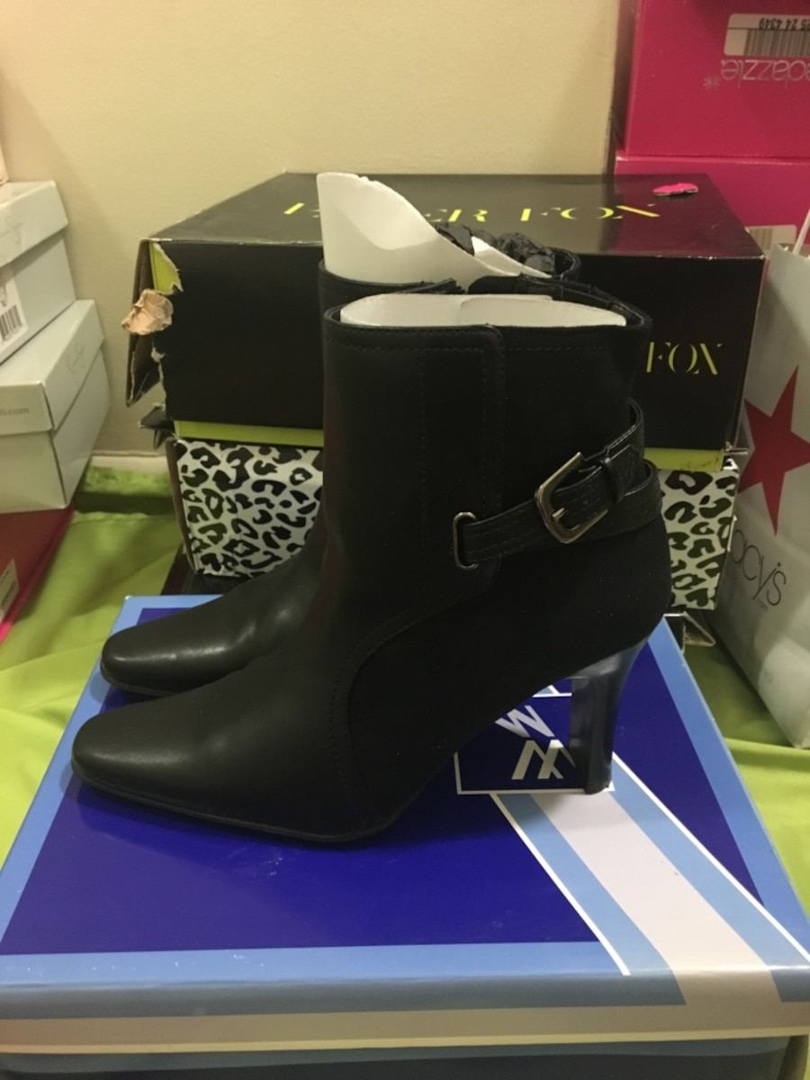 pair of black leather side zip boots - Marlow Heights
