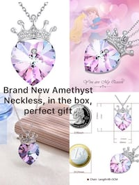 silver-colored necklace with pink gemstone crown pendant collage 哈利法克斯, B3S 0B8